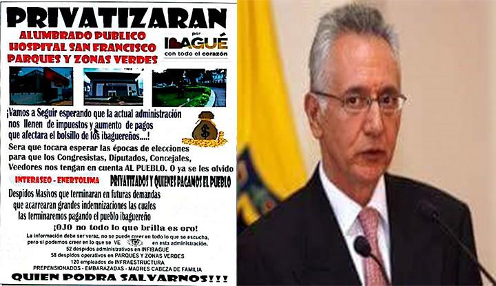 Jaramillo pretende privatizar alcaldía de Ibagué