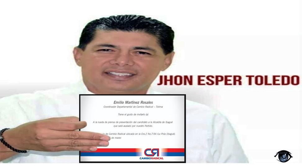 Toledo tiene aval. Cambio Radical lo escogió para ser el candidato a la Alcaldía de Ibagué. Todo el análisis