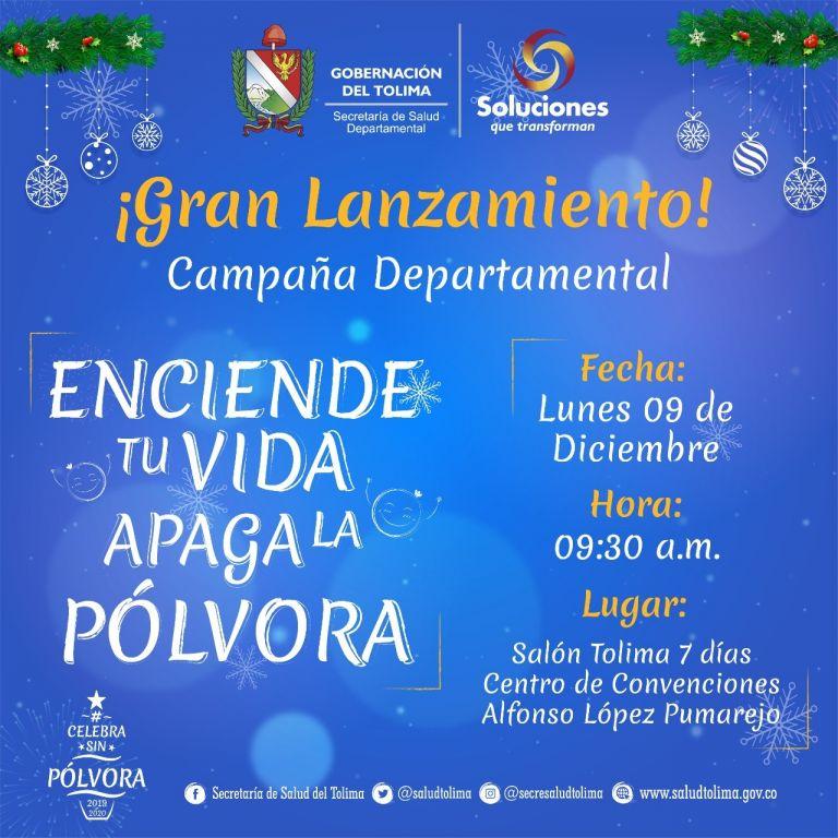 Este lunes lanzamiento campaña no a la pólvora en el Tolima