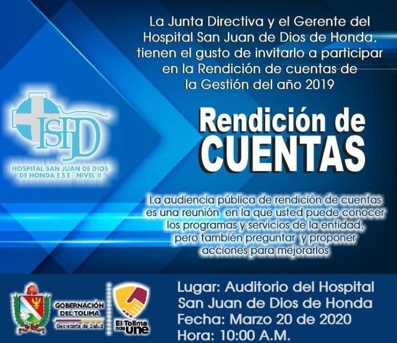 Hospital San Juan de Dios de Honda, entrega sus cuentas claras