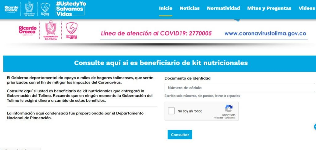 Compruebe por Internet si usted es beneficiario de los kits alimenticios que está entregando la Gobernación del Tolima