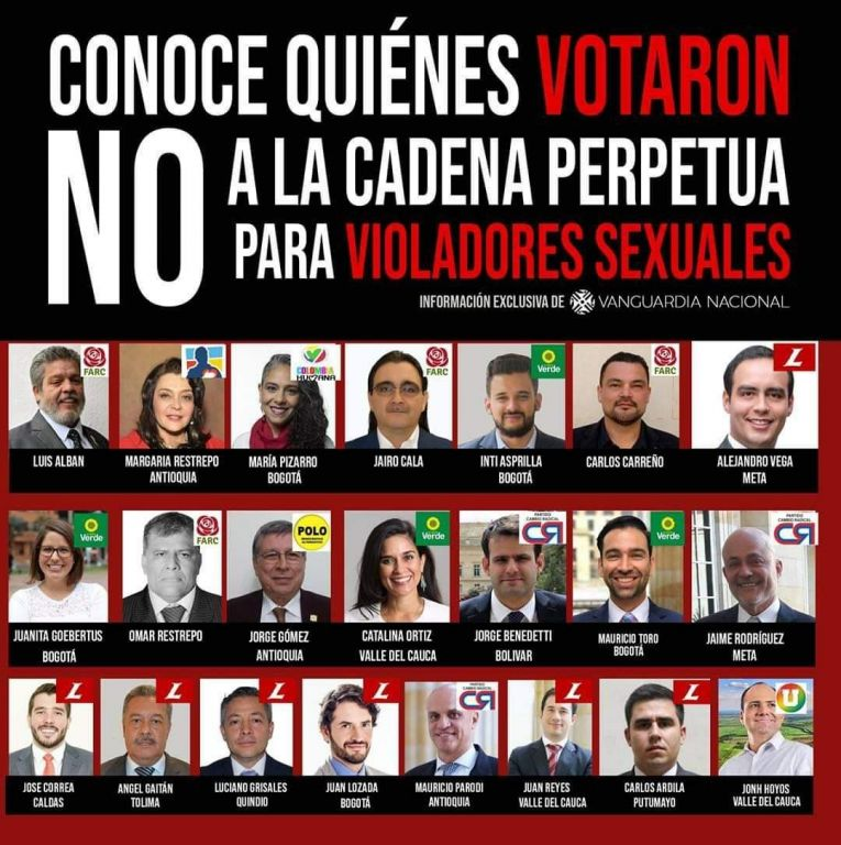 Congresista Gaitan, no aprobó cárcel para violadores de niños