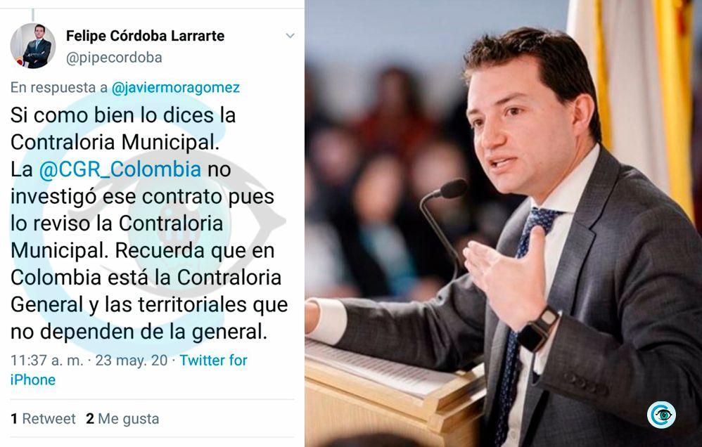 Contralor Córdoba, aclaró que no investigó contrato de Mercacentro