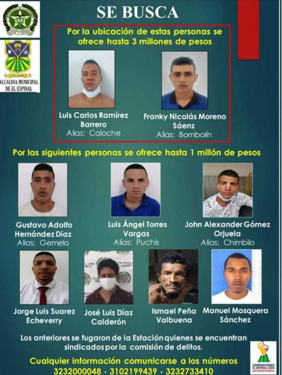 Los 9 prófugos en estación de policía del Espinal