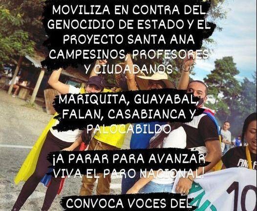 Masiva protesta en el norte del Tolima, contra el gobierno nacional