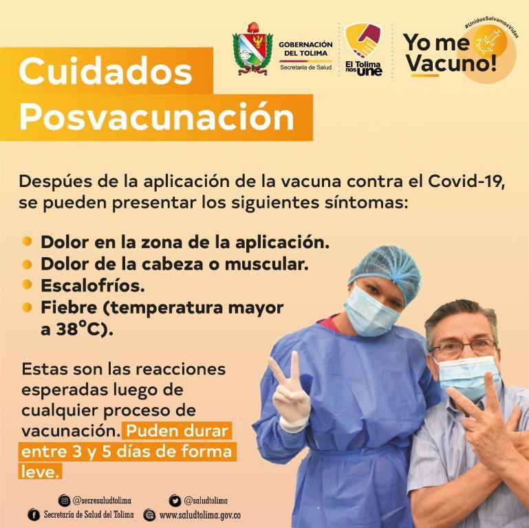 Después de la vacuna se puede  presentar sintomatologías