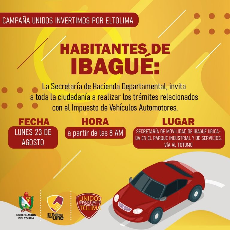 Últimos días para el pago de impuestos de vehículos en el Tolima