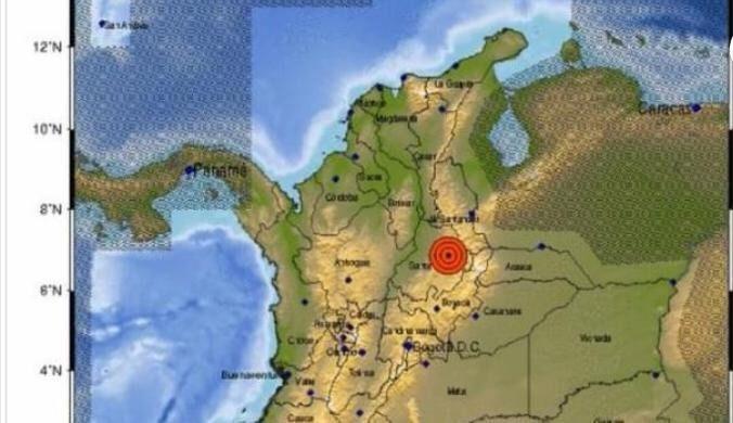 Fuerte sismo sacudió a Colombia en la noche de este  lunes