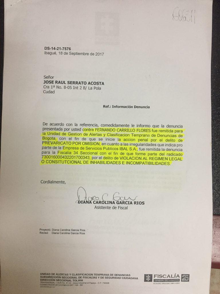 Copia: Denuncio penal en contra del Procurador General de la Nacion. Fernando Carrillo Flores. Cambioin