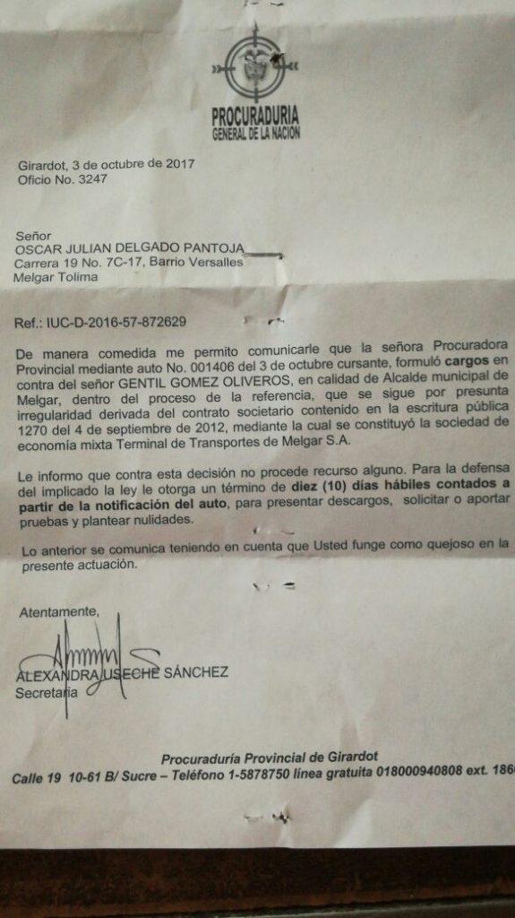 Copia: Oficio de la procuraduría provincial de Girardot contra Gentil Gómez Oliveros, aspirante al congreso por el partido Liberal. Cambioin